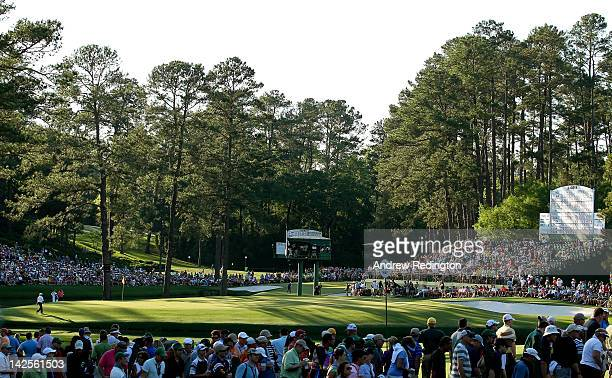 A general view of the 15th green is seen during the third round of the 2012 Masters Tournament at Augusta National Golf Club on April 7 2012 in...