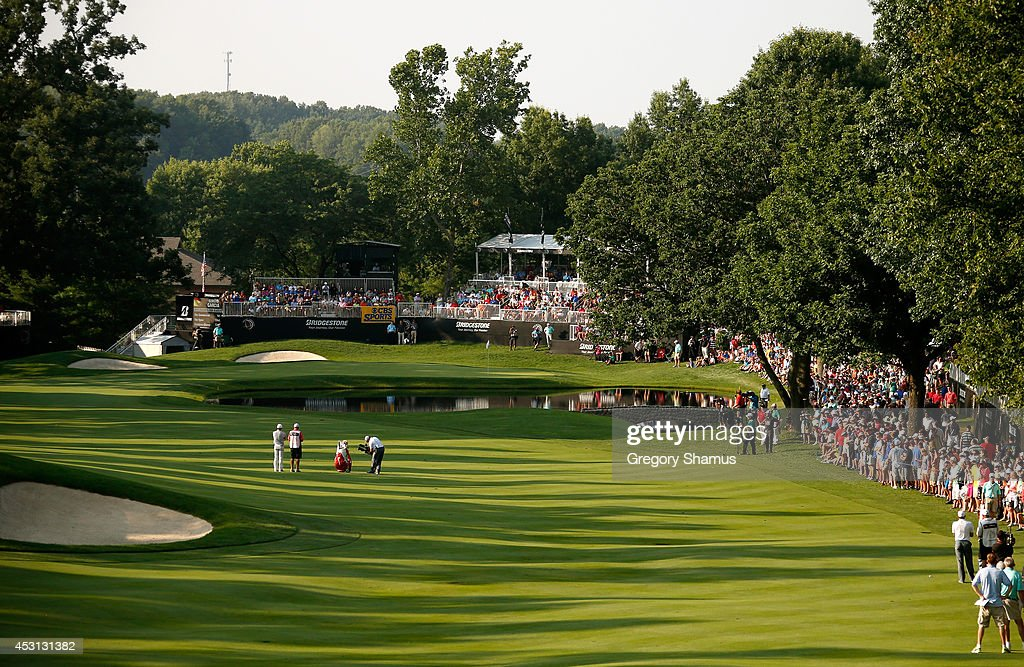 A general view of the 16th fairway as Rory McIlroy of Northern Ireland waits to hit during the final round of the World Golf Championships-Bridgestone Invitational at Firestone Country Club South Course on August 3, 2014 in Akron, Ohio.