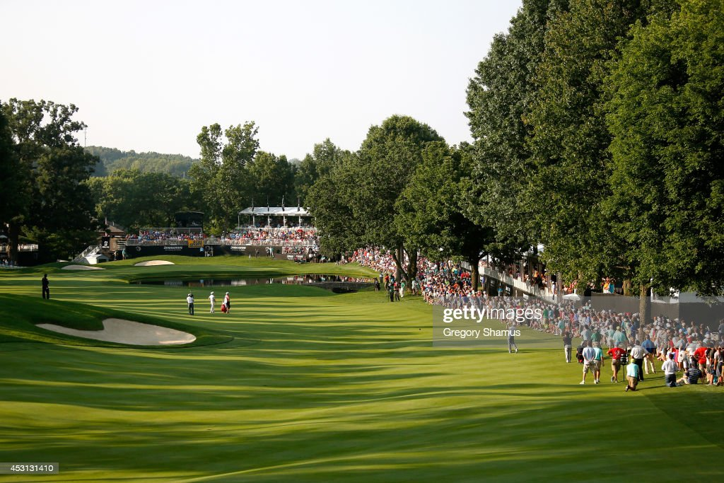 A general view of the 16th fairway as Sergio Garcia of Spain hits during the final round of the World Golf Championships-Bridgestone Invitational at Firestone Country Club South Course on August 3, 2014 in Akron, Ohio.