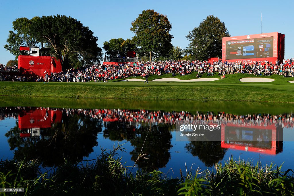 A general view of the 16th green as Rory McIlroy of Europe celebrates after winning the match during afternoon fourball matches of the 2016 Ryder Cup at Hazeltine National Golf Club on September 30, 2016 in Chaska, Minnesota.