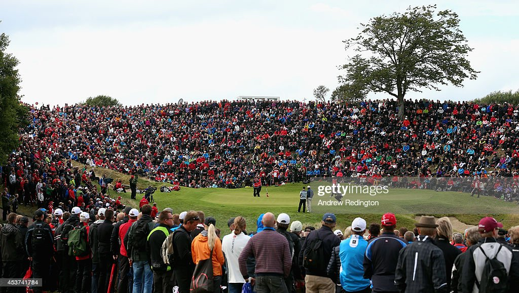 A general view of the 16th green as <a gi-track='captionPersonalityLinkClicked' href=/galleries/search?phrase=Thomas+Bjorn&family=editorial&specificpeople=202171 ng-click='$event.stopPropagation()'>Thomas Bjorn</a> of Denmark, <a gi-track='captionPersonalityLinkClicked' href=/galleries/search?phrase=Oliver+Fisher&family=editorial&specificpeople=227218 ng-click='$event.stopPropagation()'>Oliver Fisher</a> of England and <a gi-track='captionPersonalityLinkClicked' href=/galleries/search?phrase=Mikael+Lundberg&family=editorial&specificpeople=639006 ng-click='$event.stopPropagation()'>Mikael Lundberg</a> of Sweden play the hole during the final round of the Made In Denmark at Himmerland Golf & Spa Resort on August 17, 2014 in Aalborg, Denmark.