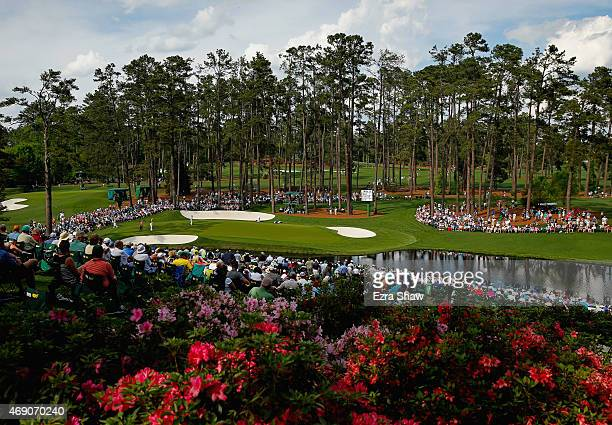 A general view of the 16th green during the first round of the 2015 Masters Tournament at Augusta National Golf Club on April 9 2015 in Augusta...