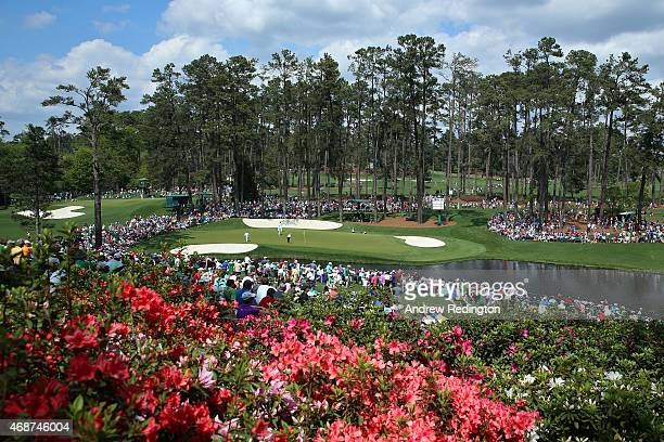 A general view of the 16th green is seen during a practice round prior to the start of the 2015 Masters Tournament at Augusta National Golf Club on...