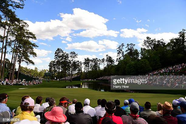 A general view of the 16th hole during the first round of the 2016 Masters Tournament at Augusta National Golf Club on April 7 2016 in Augusta Georgia