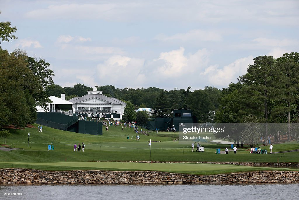 A general view of the 17th green and the 18th hole ahead of the 2016 Wells Fargo Championship at Quail Hollow Club on May 11, 2016 in Charlotte, North Carolina.