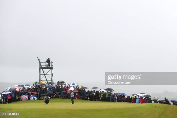 General View of the 17th green as Jon Rahm of Spain lines up during the final round of the Dubai Duty Free Irish Open at Portstewart Golf Club on...
