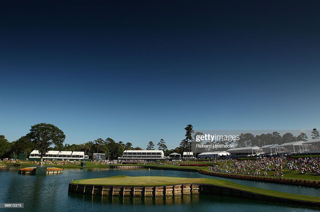A general view of the 17th green during the second round of THE PLAYERS Championship held at THE PLAYERS Stadium course at TPC Sawgrass on May 7, 2010 in Ponte Vedra Beach, Florida.