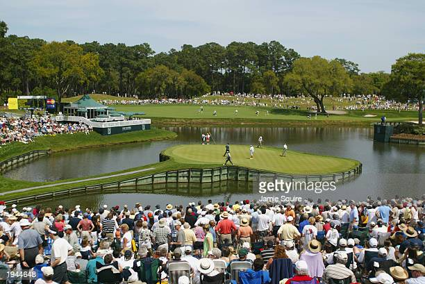 A general view of the 17th green during the third round of the Players Championship at the TPC Sawgrass Stadium Course on March 29 2003 in Ponte...