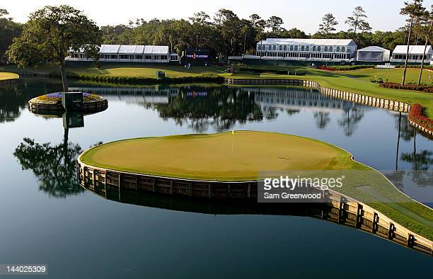 A general view of the 17th green is seen during a practice round prior to the start of THE PLAYERS Championship held at THE PLAYERS Stadium course at...