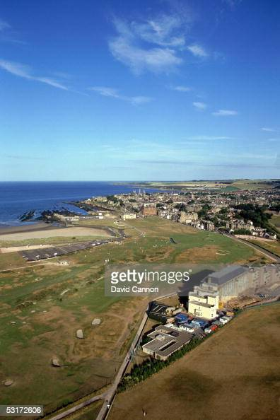General view of the 17th hole and town with hotel during a photo shoot of The Old Course at St Andrew's Scotland