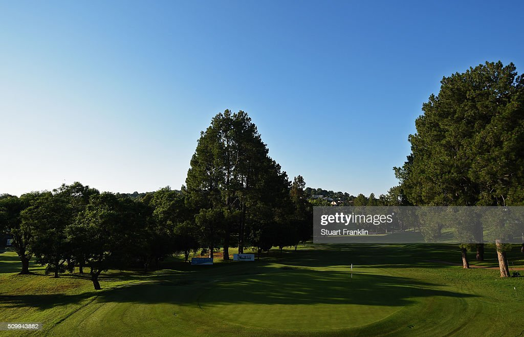 A general view of the 17th hole before the third round of the Tshwane Open at Pretoria Country Club on February 13, 2016 in Pretoria, South Africa.
