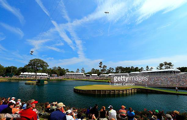 A general view of the 17th hole is seen as a gallery of fans watch play during the third round of THE PLAYERS Championship held at THE PLAYERS...