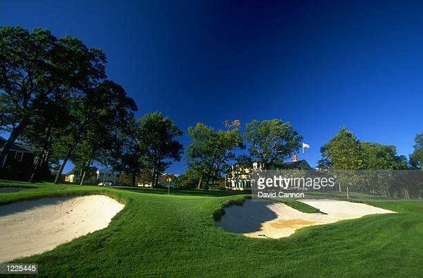 General view of the 18th green and clubhouse at The Country Club in Brookline Boston Massachusetts Mandatory Credit David Cannon /Allsport