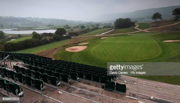 General view of the 18th green and fairway at the Twenty Ten Course at Celtic Manor as seats are dismantled in the main grandstand a few days after...