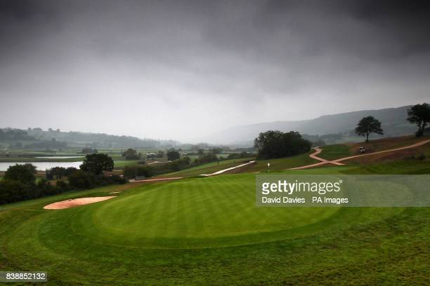 General view of the 18th green and fairway at the Twenty Ten Course at Celtic Manor a few days after the Ryder Cup