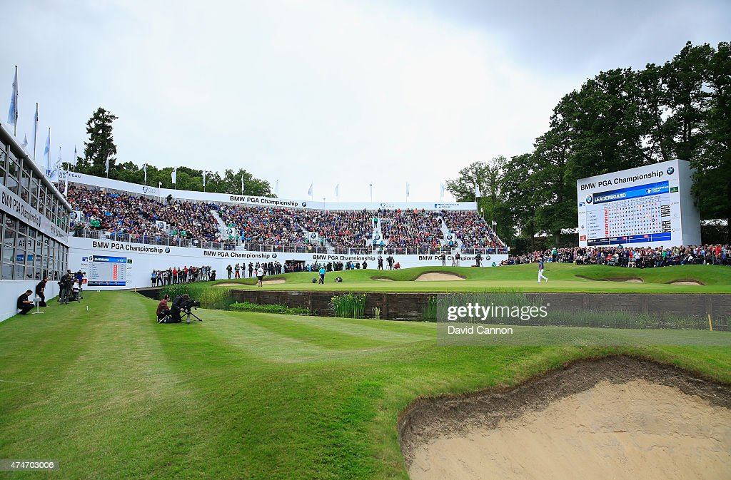 A general view of the 18th green as ByeongHun An of South Korea walks on to it during day 4 of the BMW PGA Championship at Wentworth on May 24 2015...