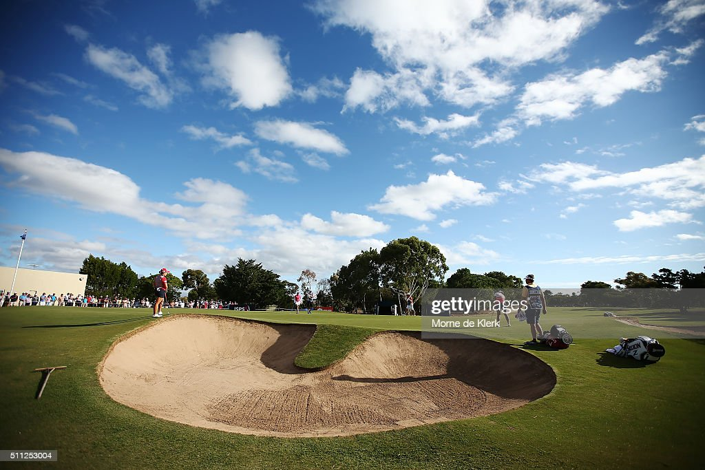A general view of the 18th green as Minjee Lee of Australia Lydia Ko of New Zealand and Ha Na Jang South Korea finish their round during day two of...