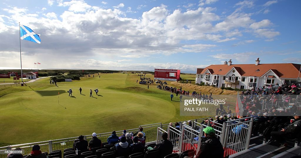General view of the 18th green as play come to a close on day three of the Women's British Open Golf Championships in Turnberry Scotland on August 1...