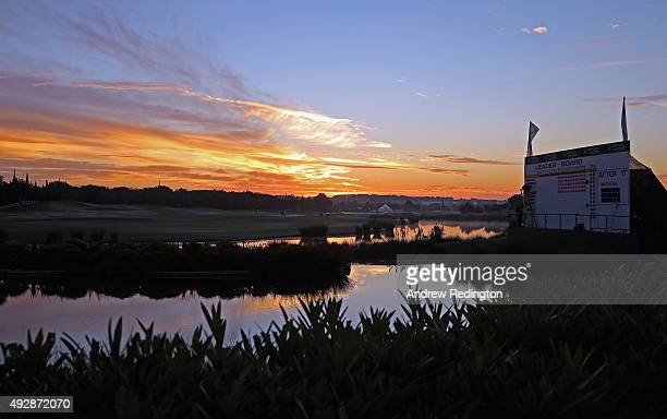 A general view of the 18th green at sunrise during the second round of the Portugal Masters at Oceanico Victoria Golf Club on October 16 2015 in...