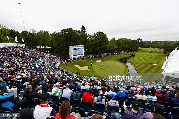 A general view of the 18th green during day 3 of the BMW PGA Championship at Wentworth on May 23 2015 in Virginia Water England