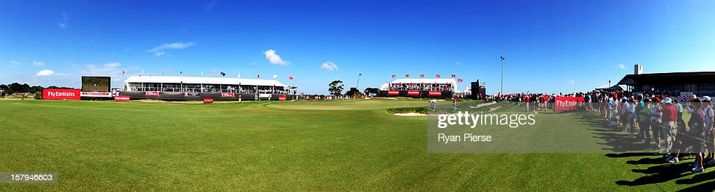 A general view of the 18th Green during round three of the 2012 Australian Open at The Lakes Golf Club on December 8, 2012 in Sydney, Australia.