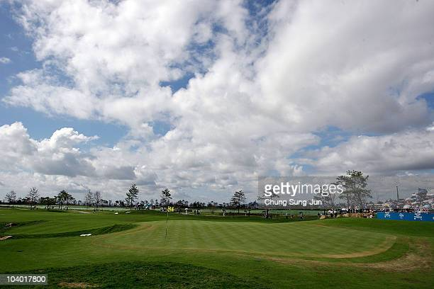 A general view of the 18th green during the day three of the PGA Champions Tour Posco EC Songdo Championship at Jack Nicklaus Golf Club on September...