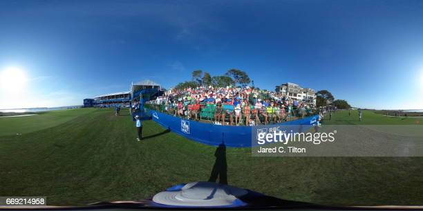 A general view of the 18th green during the final round of the 2017 RBC Heritage at Harbour Town Golf Links on April 16 2017 in Hilton Head Island...