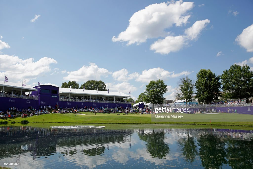 A general view of the 18th green during the final round of the FedEX St. Jude Classic at the TPC Southwind on June 11, 2017 in Memphis, Tennessee.