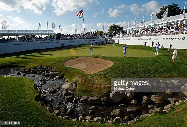 A general view of the 18th green during the First Round of the BMW Championship at Conway Farms Golf Club on September 12 2013 in Lake Forest Illinois