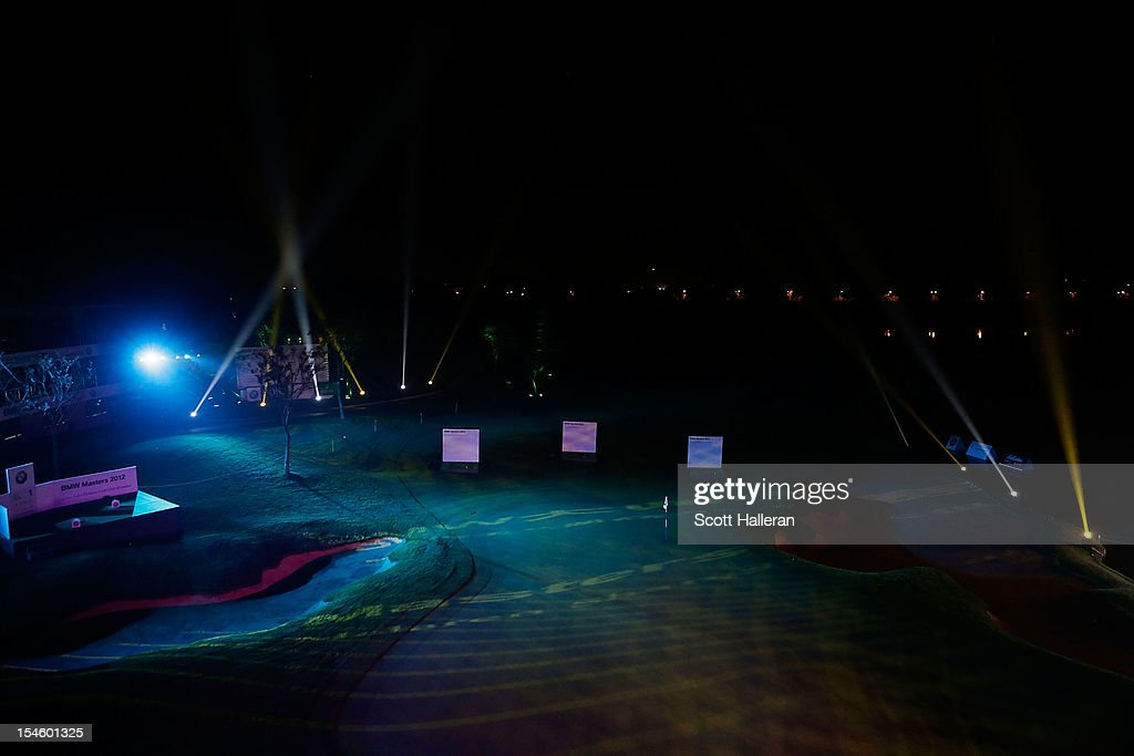 A general view of the 18th green during the opening night gala prior to the start of the BMW Masters at the Lake Malaren Golf Club on October 23, 2012 in Shanghai, China.