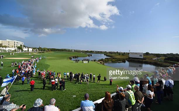 A general view of the 18th green during the prize giving ceremony after the cancellation of the final round of the Portugal Masters at Oceanico...