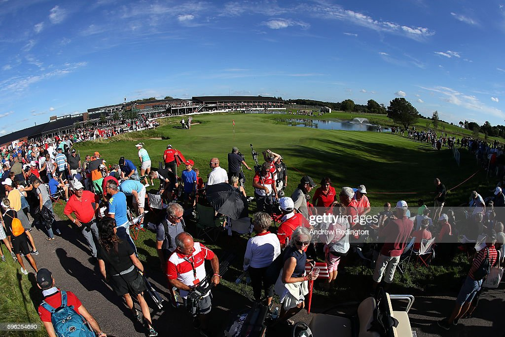General View of the 18th green during the third round of Made in Denmark at Himmerland Golf & Spa Resort on August 27, 2016 in Aalborg, Denmark.