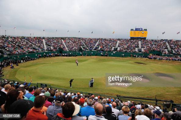 General View of the 18th green during the third round of The 143rd Open Championship at Royal Liverpool on July 19 2014 in Hoylake England