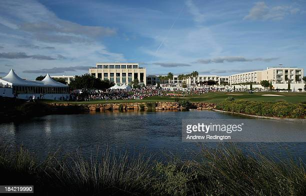 A general view of the 18th green during the third round of the Portugal Masters at Oceanico Victoria Golf Course on October 12 2013 in Faro Portugal