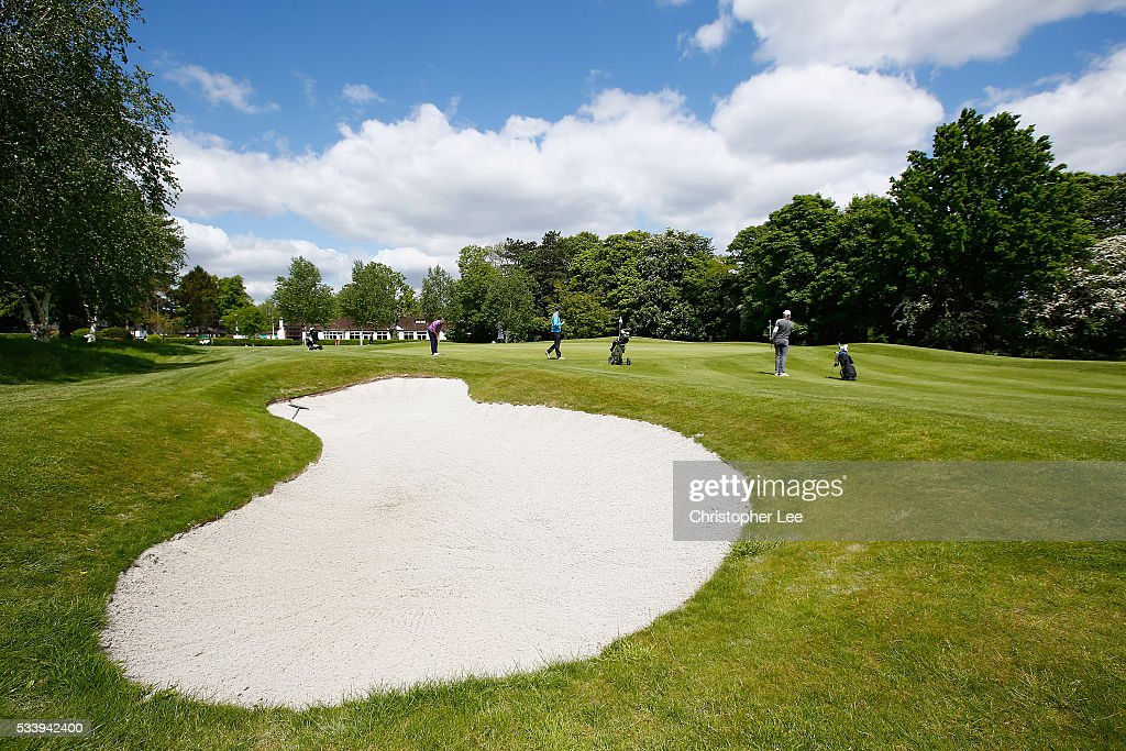 General view of the 18th Green during the Titleist & FootJoy PGA Professional Championship South Qualifier at Woodcote Park Golf Course on May 24, 2016 in Coulsdon, England.