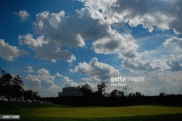 A general view of the 18th green is seen during the first round of the 2015 Masters Tournament at Augusta National Golf Club on April 9 2015 in...