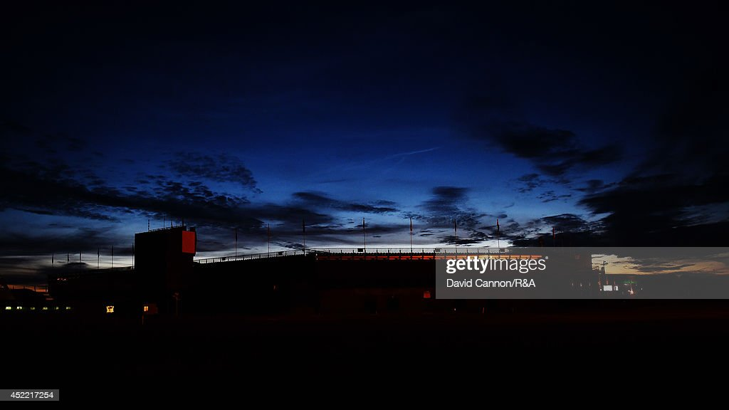A general view of the 18th green is seen in the evening prior to the start of the 143rd Open Championship at Royal Liverpool on July 15, 2014 in Hoylake, England.