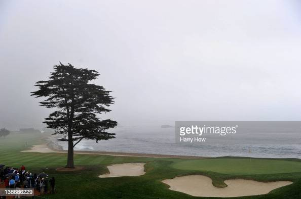 A general view of the 18th green is seen in the rain during the second round of the ATT Pebble Beach National ProAm at Pebble Beach Golf Links on...