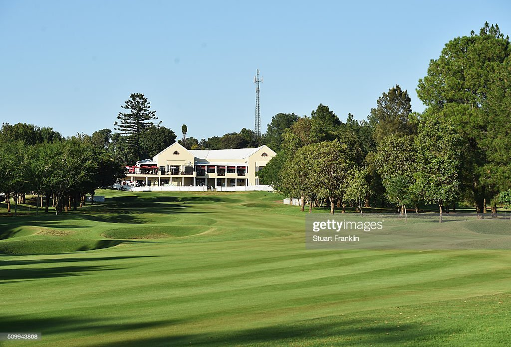 A general view of the 18th hole and clubhouse before the third round of the Tshwane Open at Pretoria Country Club on February 13, 2016 in Pretoria, South Africa.