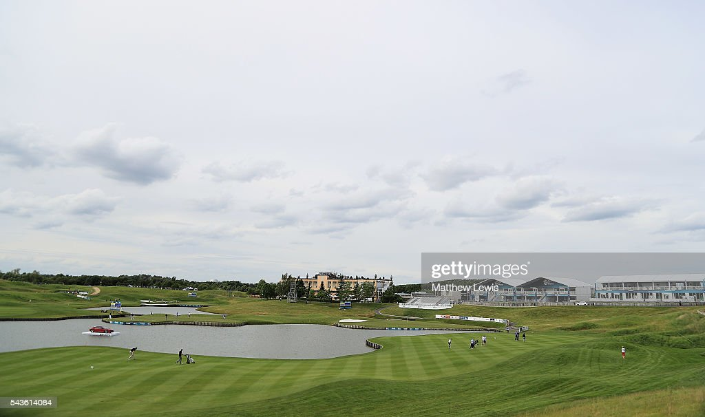 A general view of the 18th hole during a pro-am round ahead of the 100th Open de France at Le Golf National on June 29, 2016 in Paris, France.