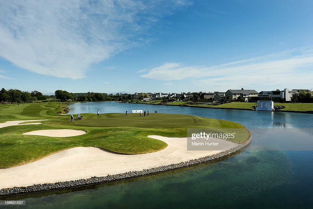 General view of the 18th hole during day two of the New Zealand Open Championship at Clearwater Golf Course on November 23, 2012 in Christchurch, New Zealand.
