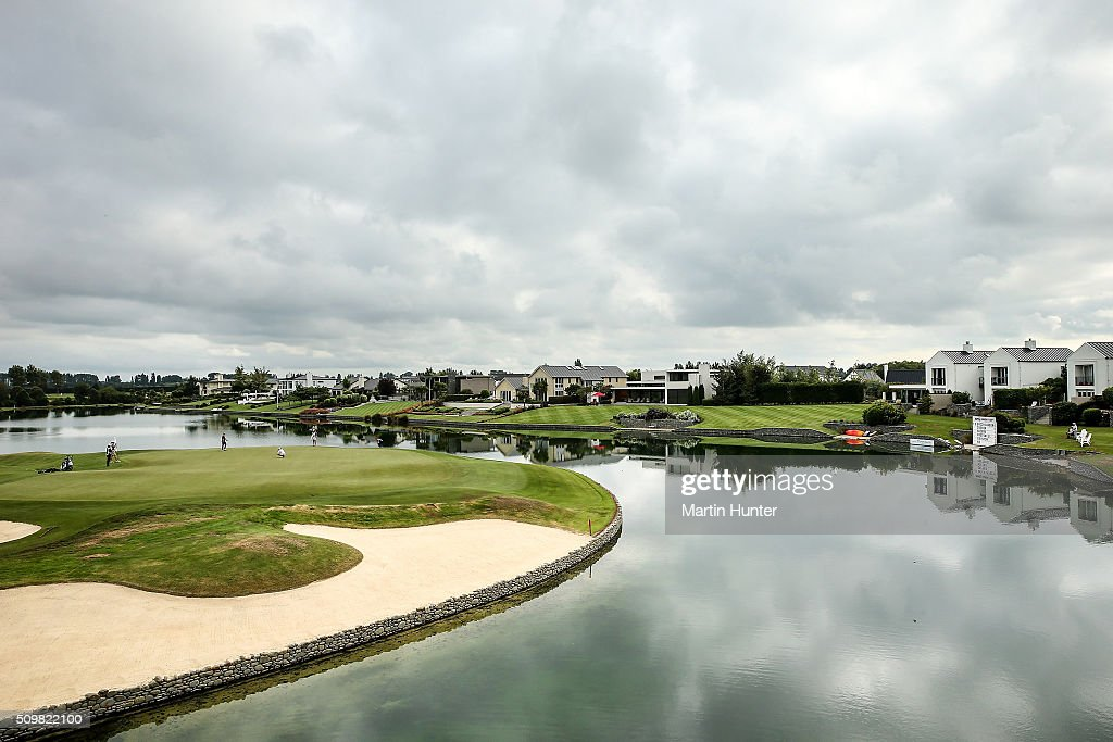 General view of the 18th hole during the 2nd round of the New Zealand Women's Open at Clearwater Golf Club on February 13, 2016 in Christchurch, New Zealand.