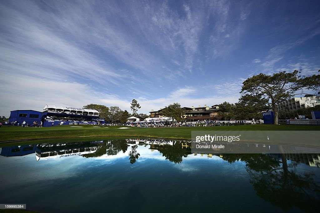 A general view of the 18th hole during the first round at the Farmers Insurance Open at Torrey Pines Golf Course on January 24, 2013 in La Jolla, California.