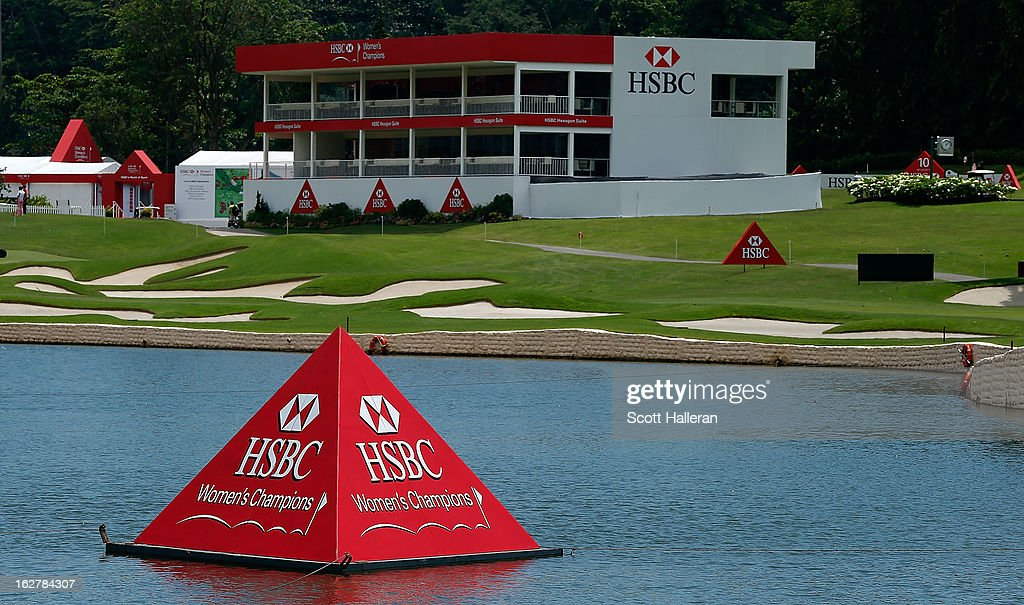 A general view of the 18th hole during the pro-am prior to the start of the HSBC Women's Champions at the Sentosa Golf Club on February 27, 2013 in Singapore, Singapore.