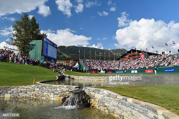 A general view of the 18th hole during the third round of the Omega European Masters at CranssurSierre Golf Club on September 6 2014 in CransMontana...