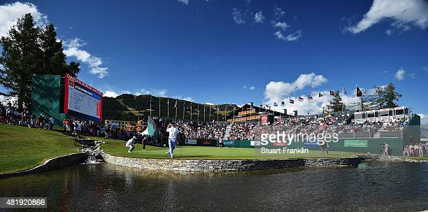 A general view of the 18th hole during the third round of the Omega European Masters at CranssurSierre Golf Club on July 25 2015 in CransMontana...