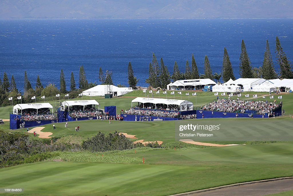 General view of the 18th hole green and fairway during the final round of the Hyundai Tournament of Champions at the Plantation Course on January 8, 2013 in Kapalua, Hawaii.