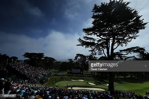 A general view of the 18th hole is seen as golfer play the green during the first round of the 112th US Open at The Olympic Club on June 14 2012 in...