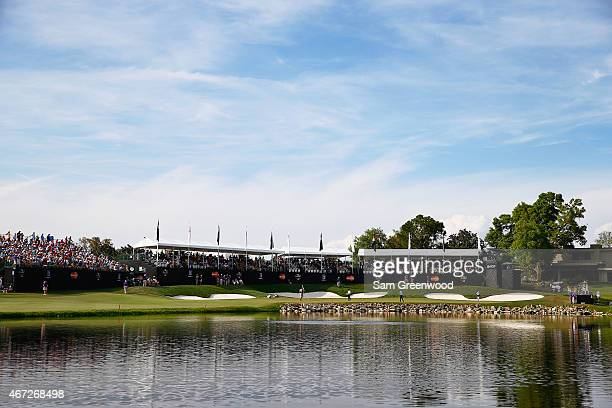 A general view of the 18th hole is seen during the final round of the Arnold Palmer Invitational Presented By MasterCard at the Bay Hill Club and...