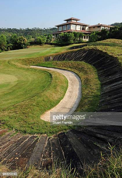 A general view of the 18th hole on the Pete Dye course at the Mid Valley golf complex on November 23 2009 in Shenzhen China